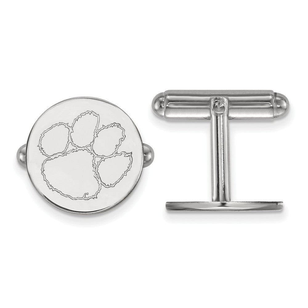 NCAA Sterling Silver Clemson University Cuff Links, Item M9238 by The Black Bow Jewelry Co.