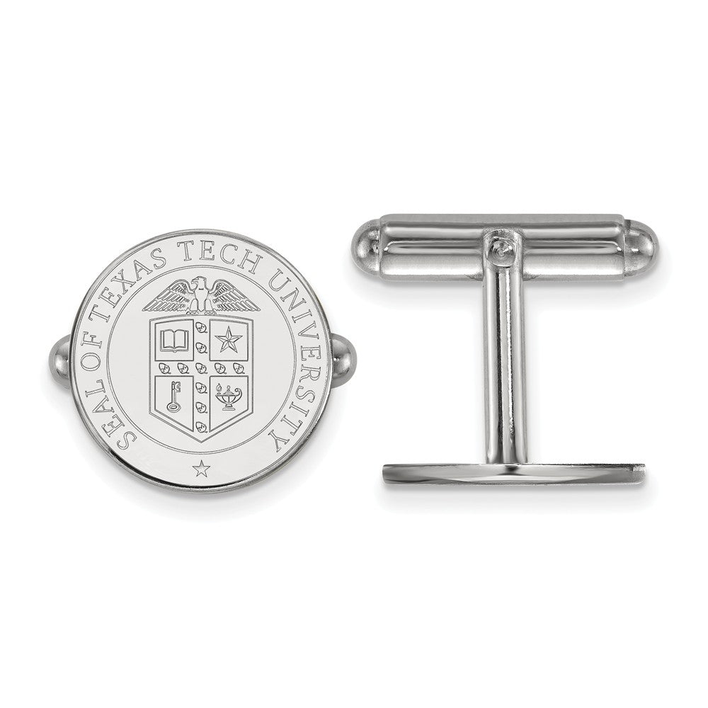 NCAA Sterling Silver Texas Tech University Crest Cuff Links, Item M9345 by The Black Bow Jewelry Co.