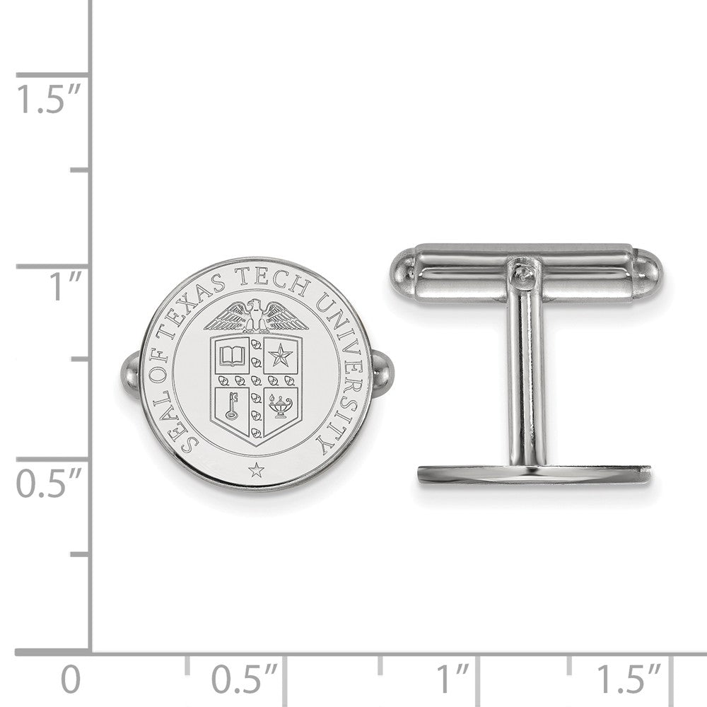 Alternate view of the NCAA Sterling Silver Texas Tech University Crest Cuff Links by The Black Bow Jewelry Co.