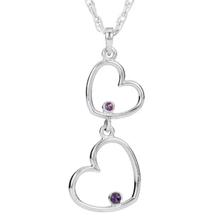 Double Heart Amethyst Necklace in Sterling Silver, 18 Inch - The Black Bow Jewelry Co.