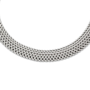 14.75mm Mesh Link Necklace in Sterling Silver, 18 Inch - The Black Bow Jewelry Co.
