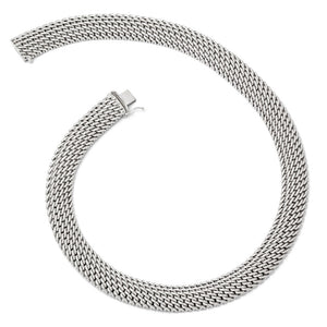 Alternate view of the 14.75mm Mesh Link Necklace in Sterling Silver, 18 Inch by The Black Bow Jewelry Co.