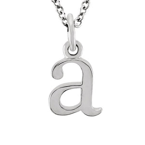 The Abbey Lower Case Initial 'a' Necklace in 14k White Gold, 16 Inch - The Black Bow Jewelry Co.