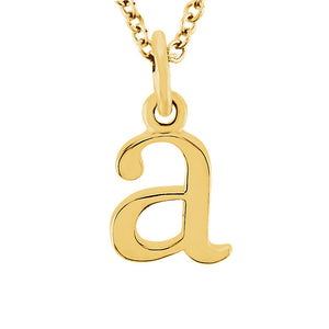 The Abbey Lower Case Initial 'a' Necklace in 14k Yellow Gold, 16 Inch - The Black Bow Jewelry Co.