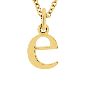 The Abbey Lower Case Initial 'e' Necklace in 14k Yellow Gold, 16 Inch - The Black Bow Jewelry Co.