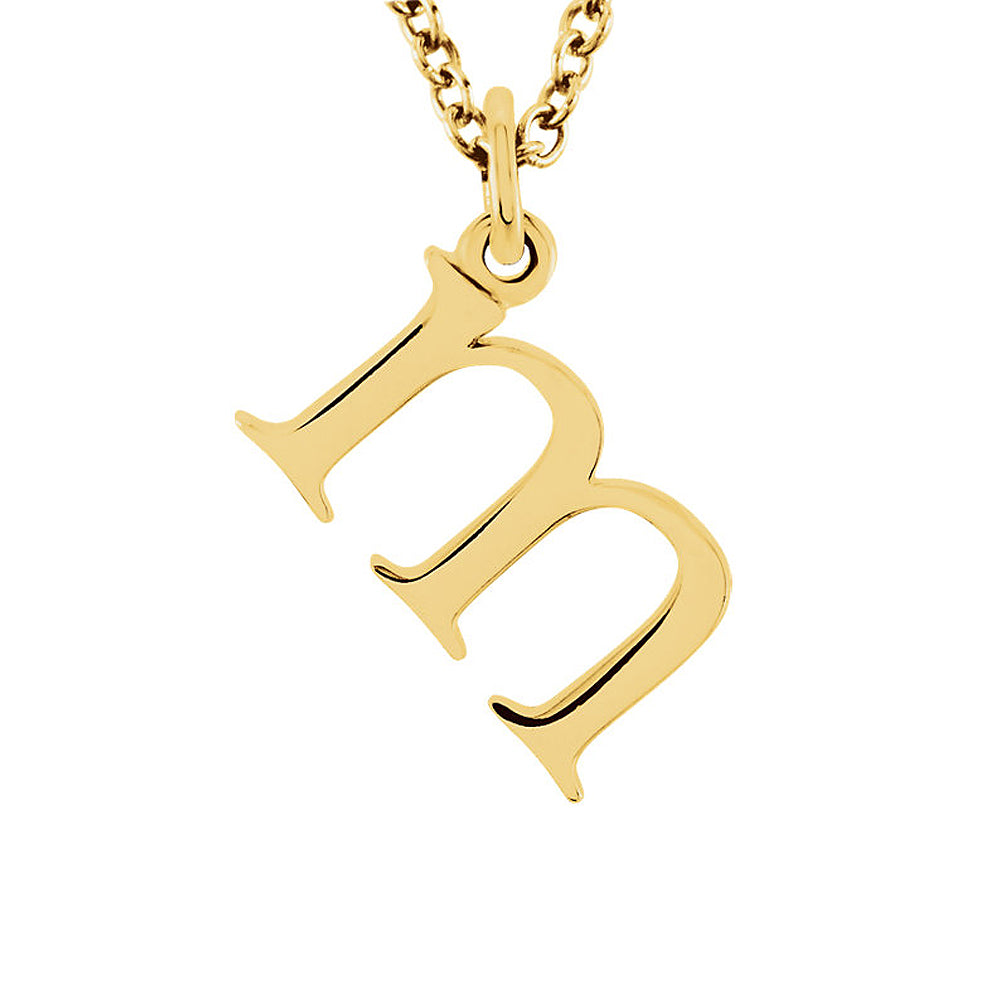 The Abbey Lower Case Initial 'm' Necklace in 14k Yellow Gold, 16 Inch, Item N10362-M by The Black Bow Jewelry Co.