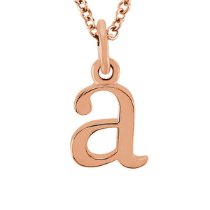 The Abbey Lower Case Initial 'a' Necklace in 14k Rose Gold, 16 Inch - The Black Bow Jewelry Co.
