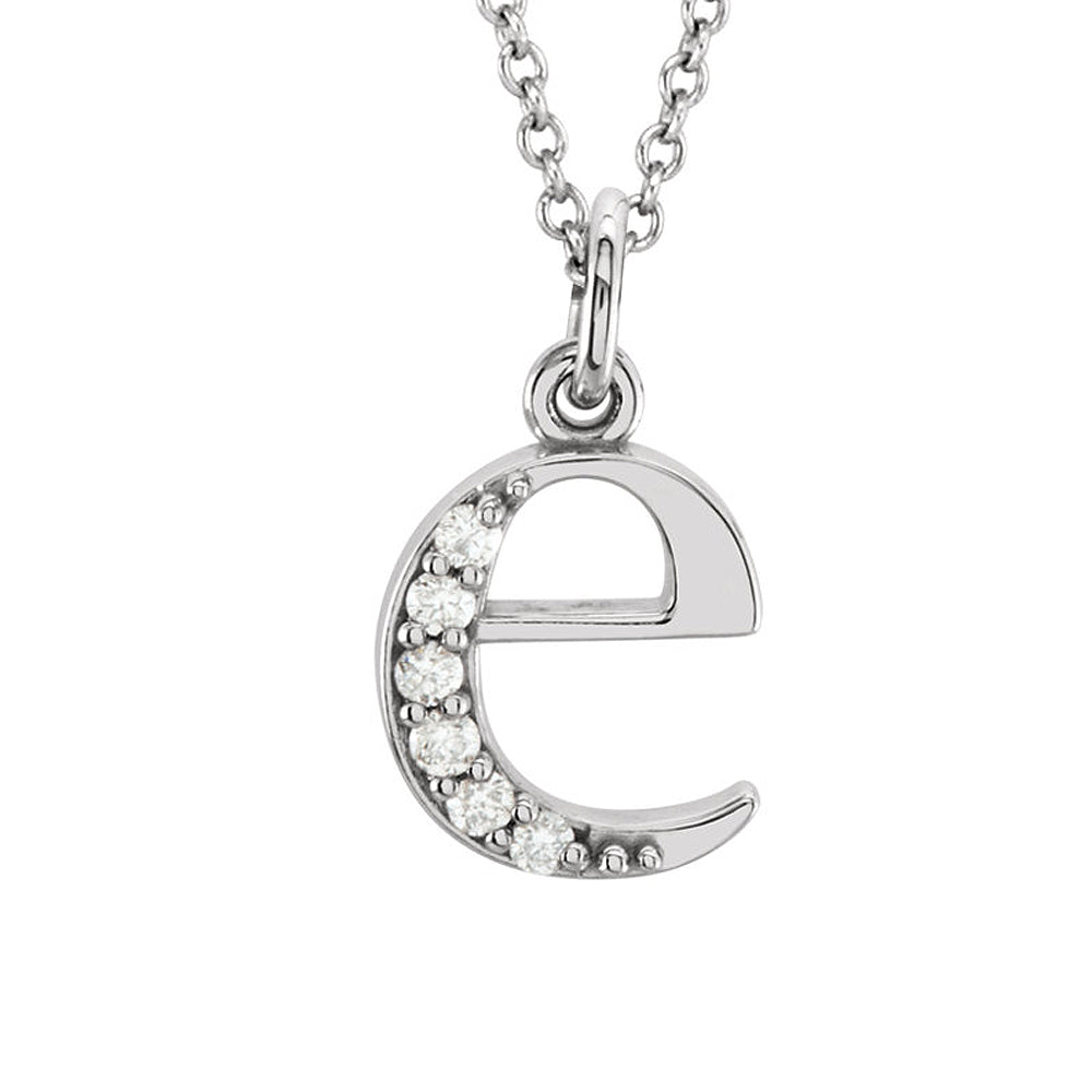 The Abbey 14k White Gold Diamond Lower Case Initial 'e' Necklace 16 In, Item N10367-E by The Black Bow Jewelry Co.
