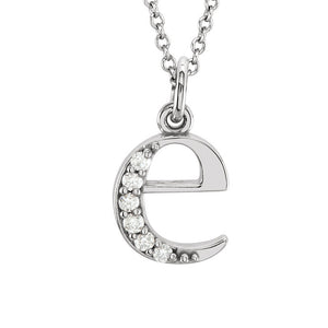 The Abbey 14k White Gold Diamond Lower Case Initial 'e' Necklace 16 In - The Black Bow Jewelry Co.