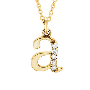 The Abbey 14k Yellow Diamond Lower Case Initial 'a' Necklace 16 Inch - The Black Bow Jewelry Co.