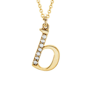 The Abbey 14k Yellow Diamond Lower Case Initial 'b' Necklace 16 Inch - The Black Bow Jewelry Co.