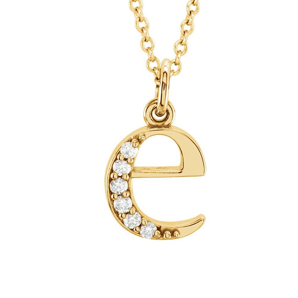 The Abbey 14k Yellow Diamond Lower Case Initial 'e' Necklace 16 Inch, Item N10368-E by The Black Bow Jewelry Co.