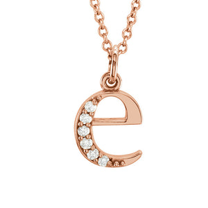 The Abbey 14k Rose Gold Diamond Lower Case Initial 'e' Necklace 16 In - The Black Bow Jewelry Co.