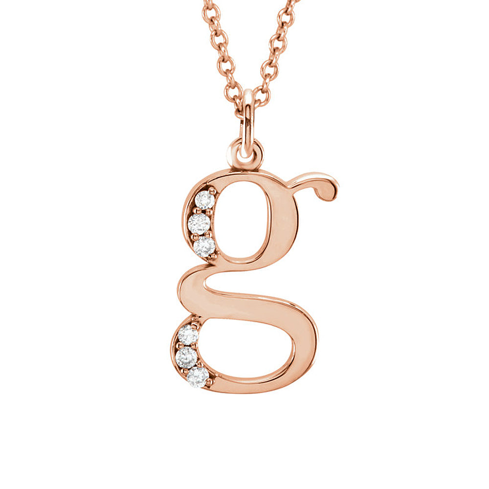 The Abbey 14k Rose Gold Diamond Lower Case Initial 'g' Necklace 16 In, Item N10369-G by The Black Bow Jewelry Co.