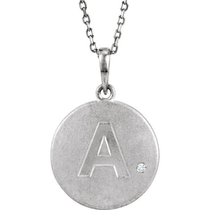 The Emma Sterling Silver Diamond Block Initial A Disc Necklace, 18 In. - The Black Bow Jewelry Co.