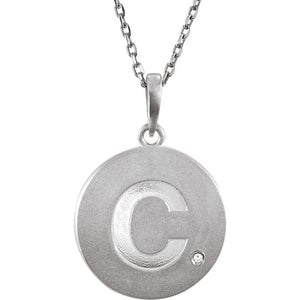 The Emma Sterling Silver Diamond Block Initial C Disc Necklace, 18 In. - The Black Bow Jewelry Co.