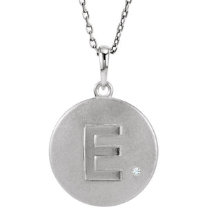 The Emma Sterling Silver Diamond Block Initial E Disc Necklace, 18 In. - The Black Bow Jewelry Co.