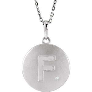 The Emma Sterling Silver Diamond Block Initial F Disc Necklace, 18 In. - The Black Bow Jewelry Co.