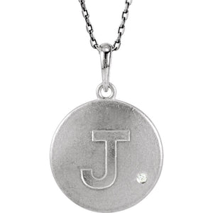 The Emma Sterling Silver Diamond Block Initial J Disc Necklace, 18 In. - The Black Bow Jewelry Co.