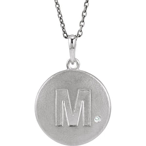 The Emma Sterling Silver Diamond Block Initial M Disc Necklace, 18 In. - The Black Bow Jewelry Co.