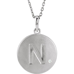 The Emma Sterling Silver Diamond Block Initial N Disc Necklace, 18 In. - The Black Bow Jewelry Co.