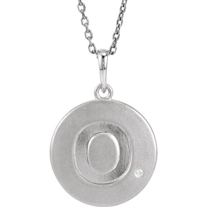 The Emma Sterling Silver Diamond Block Initial O Disc Necklace, 18 In. - The Black Bow Jewelry Co.