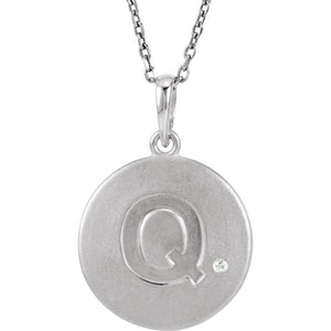The Emma Sterling Silver Diamond Block Initial Q Disc Necklace, 18 In. - The Black Bow Jewelry Co.