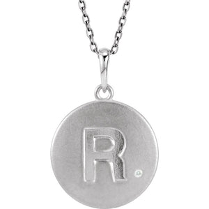 The Emma Sterling Silver Diamond Block Initial R Disc Necklace, 18 In. - The Black Bow Jewelry Co.
