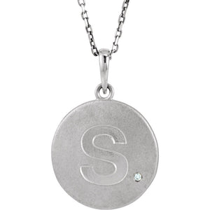 The Emma Sterling Silver Diamond Block Initial S Disc Necklace, 18 In. - The Black Bow Jewelry Co.