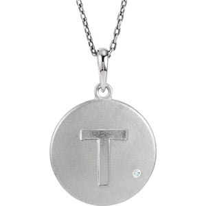 The Emma Sterling Silver Diamond Block Initial T Disc Necklace, 18 In. - The Black Bow Jewelry Co.