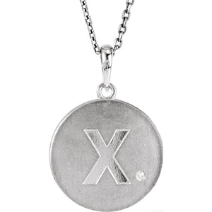 The Emma Sterling Silver Diamond Block Initial X Disc Necklace, 18 In. - The Black Bow Jewelry Co.