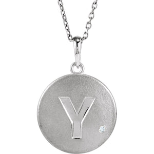 The Emma Sterling Silver Diamond Block Initial Y Disc Necklace, 18 In. - The Black Bow Jewelry Co.