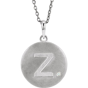 The Emma Sterling Silver Diamond Block Initial Z Disc Necklace, 18 In. - The Black Bow Jewelry Co.
