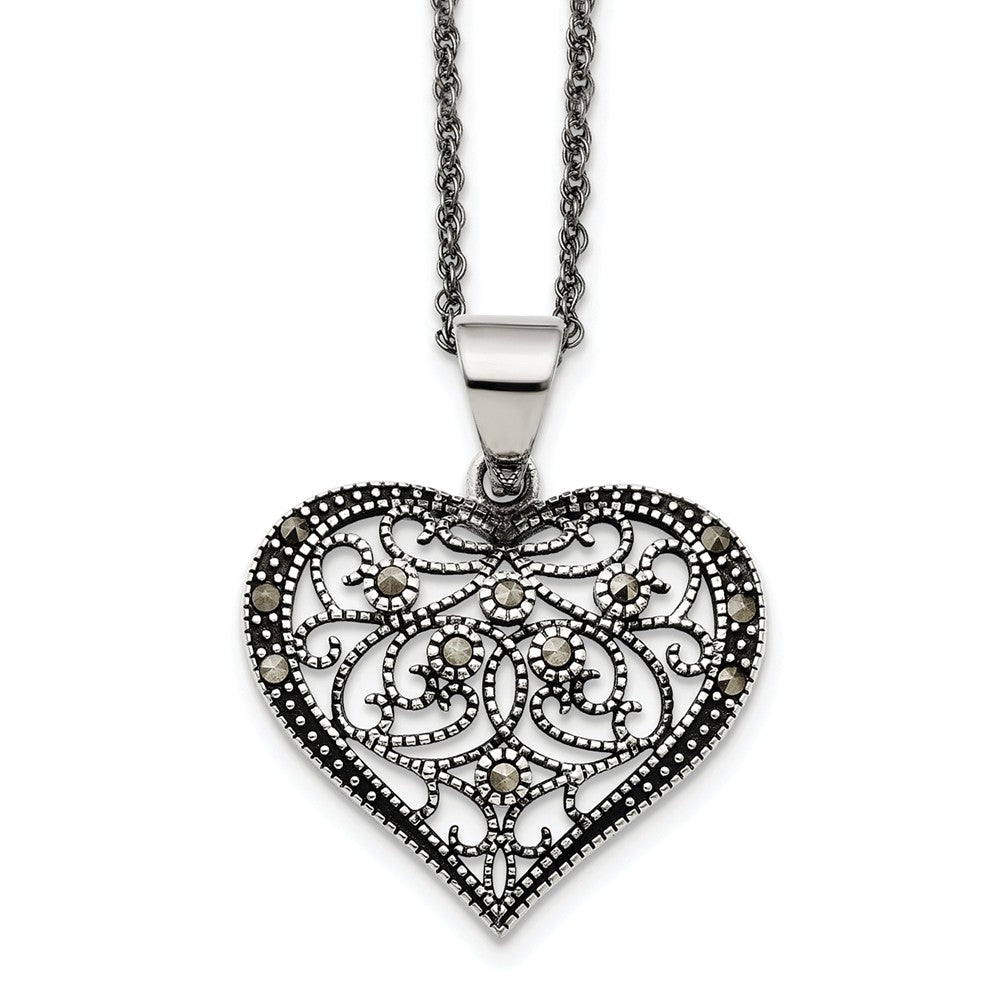 Marcasite Scroll Heart Necklace in Antiqued Stainless Steel, 20 Inch, Item N10372 by The Black Bow Jewelry Co.