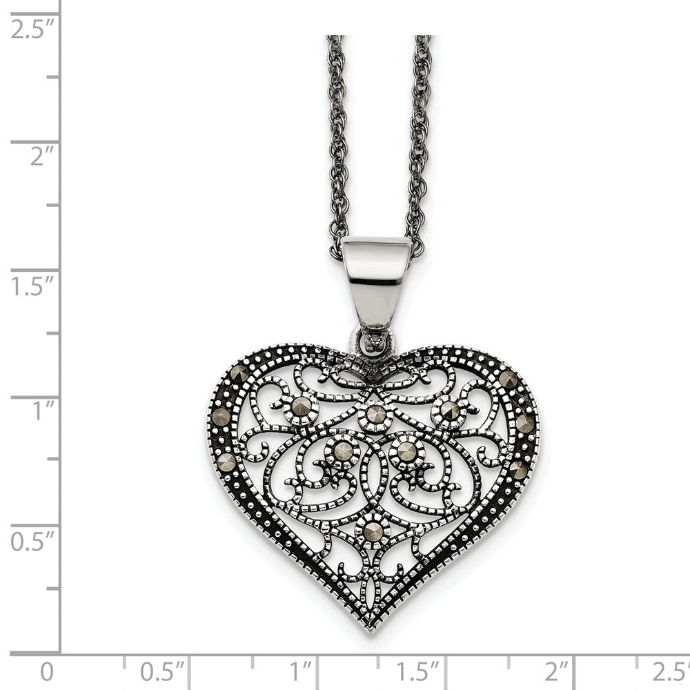 Alternate view of the Marcasite Scroll Heart Necklace in Antiqued Stainless Steel, 20 Inch by The Black Bow Jewelry Co.