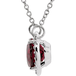 Alternate view of the Oval Rhodolite Garnet & .05 Ctw Diamond 14k White Gold Necklace, 16 In by The Black Bow Jewelry Co.