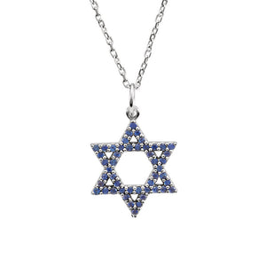 Blue Sapphire Star of David Necklace in 14k White Gold, 16 Inch - The Black Bow Jewelry Co.