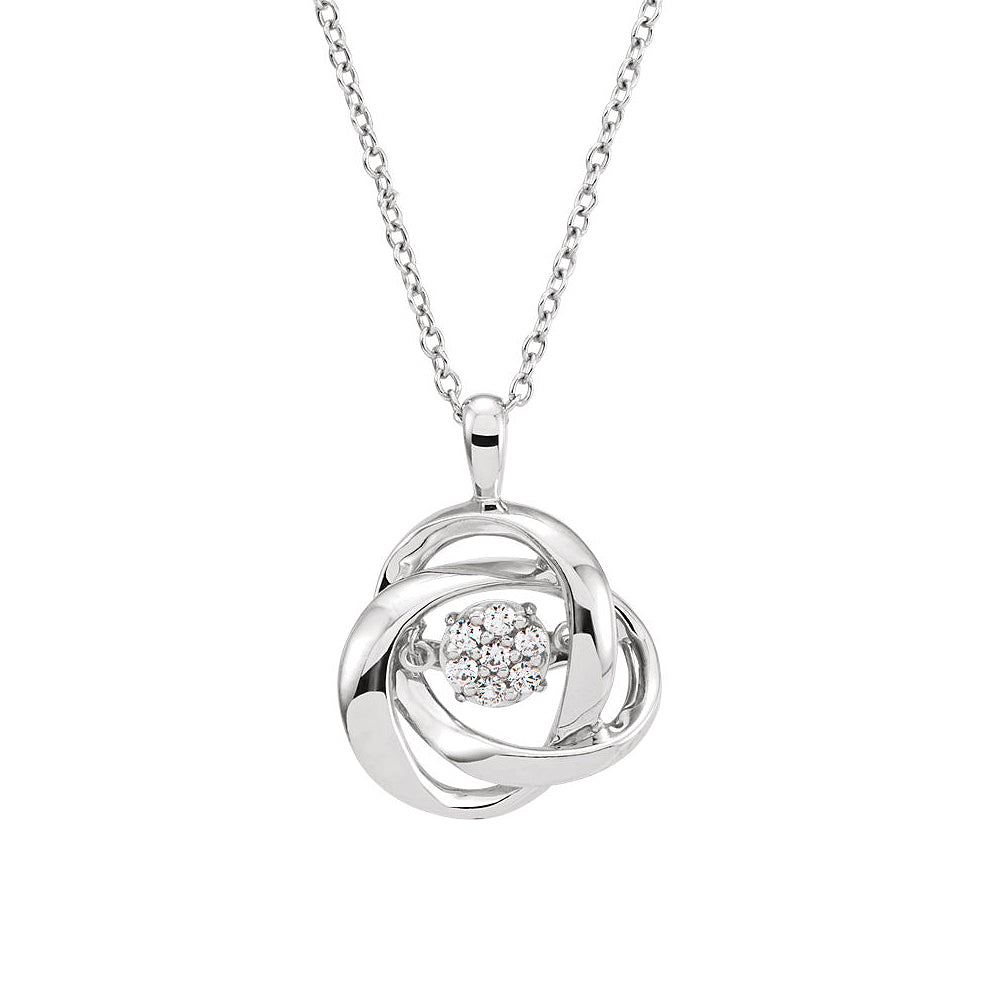 1/10 Cttw Diamond Knot Necklace in Sterling Silver, 18 Inch, Item N10500 by The Black Bow Jewelry Co.