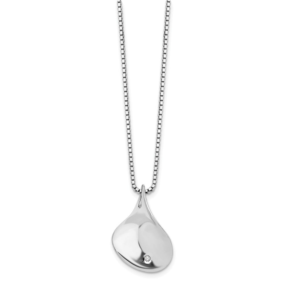 Diamond Twisted Tear Necklace in Rhodium Plated Silver, 18-20 Inch, Item N10555 by The Black Bow Jewelry Co.