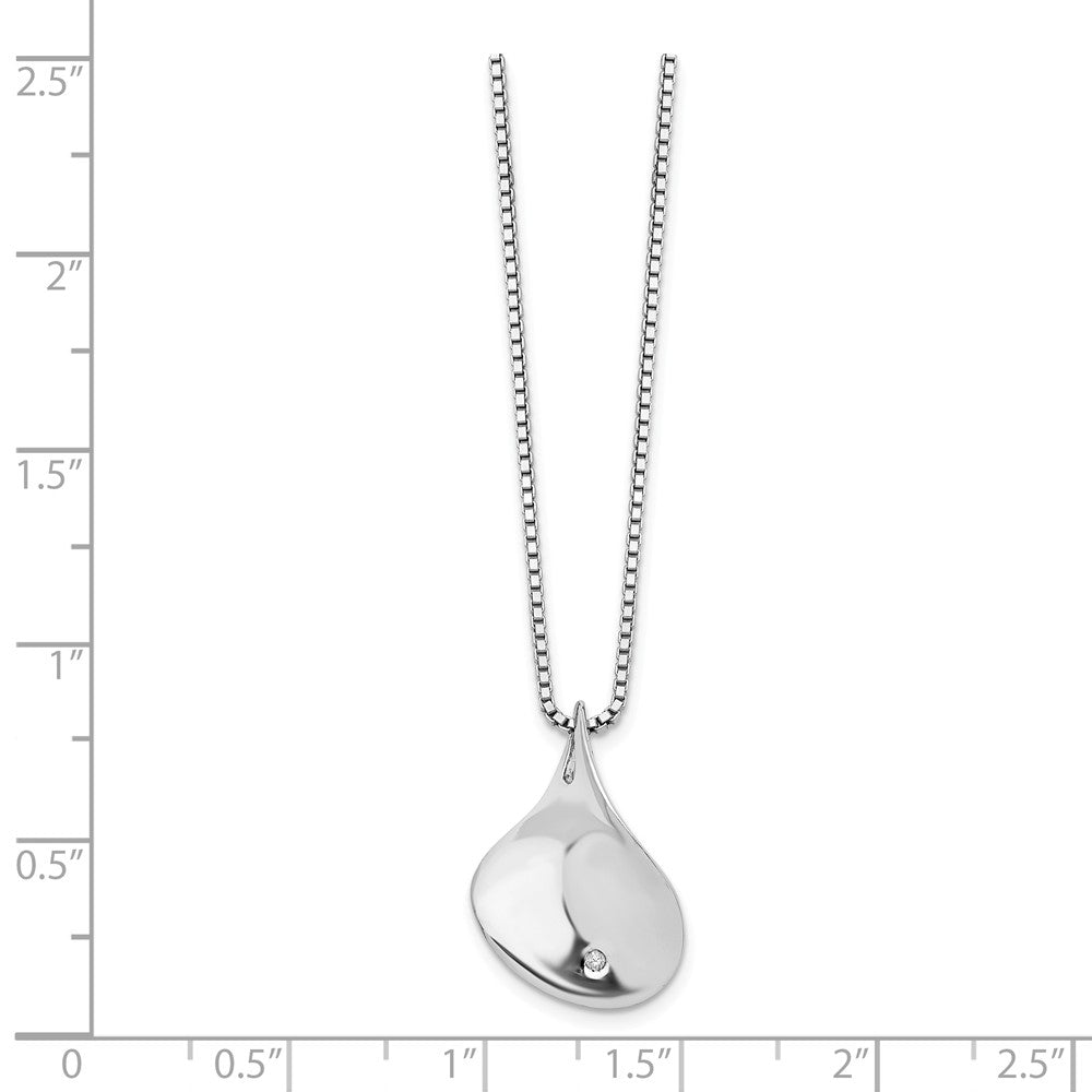 Alternate view of the Diamond Twisted Tear Necklace in Rhodium Plated Silver, 18-20 Inch by The Black Bow Jewelry Co.