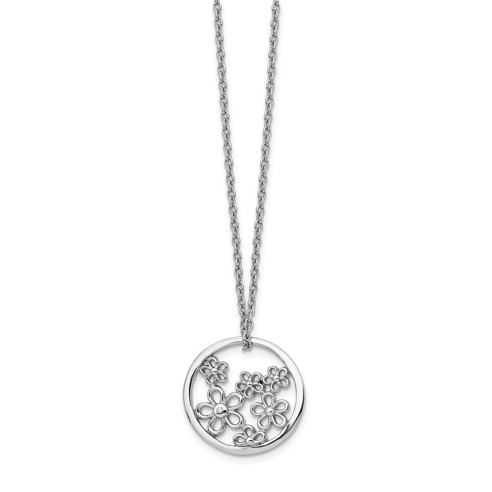 19mm Flower Diamond Necklace in Rhodium Plated Silver, 18-20 Inch, Item N10599 by The Black Bow Jewelry Co.