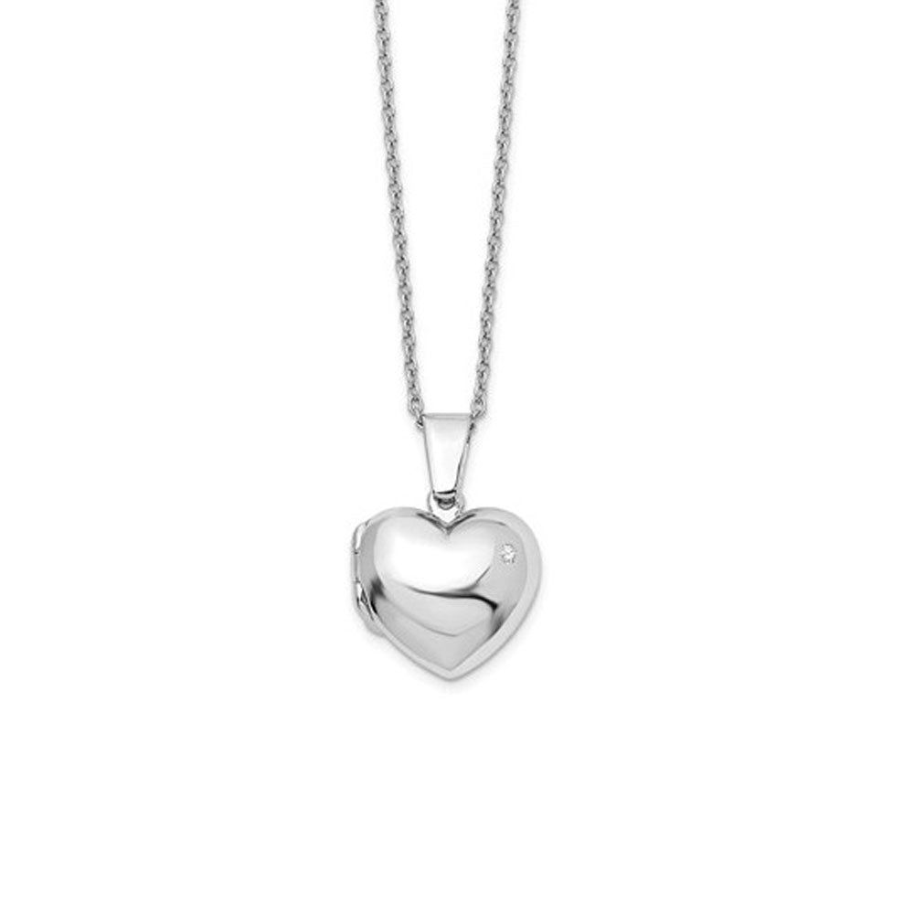 17mm Diamond Heart Locket Necklace, Rhodium Plated Silver, 18-20 Inch, Item N10625 by The Black Bow Jewelry Co.