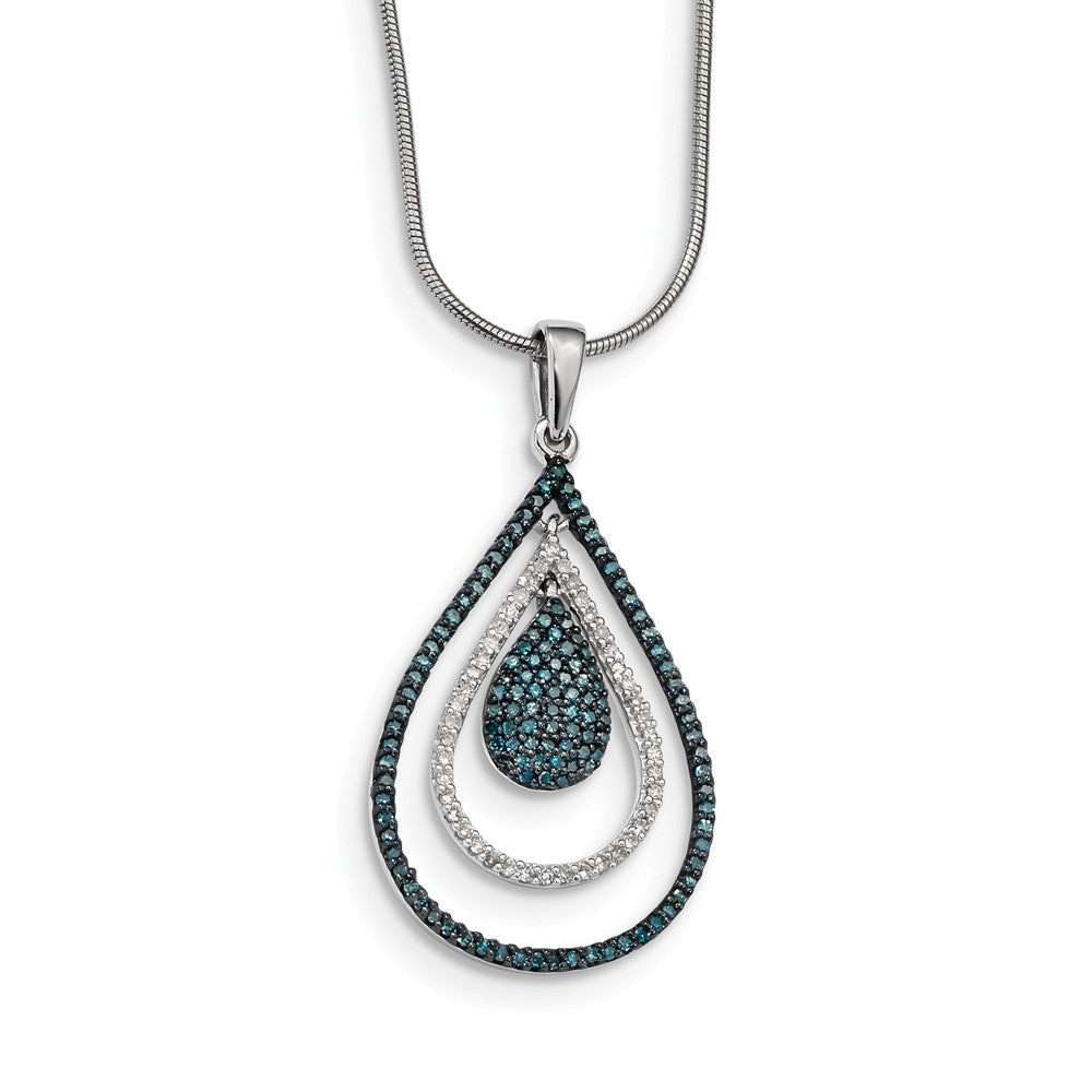 1/2 Ctw Blue & White Diamond Triple Teardrop Sterling Silver Necklace, Item N10717 by The Black Bow Jewelry Co.