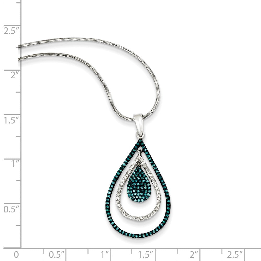 Alternate view of the 1/2 Ctw Blue & White Diamond Triple Teardrop Sterling Silver Necklace by The Black Bow Jewelry Co.