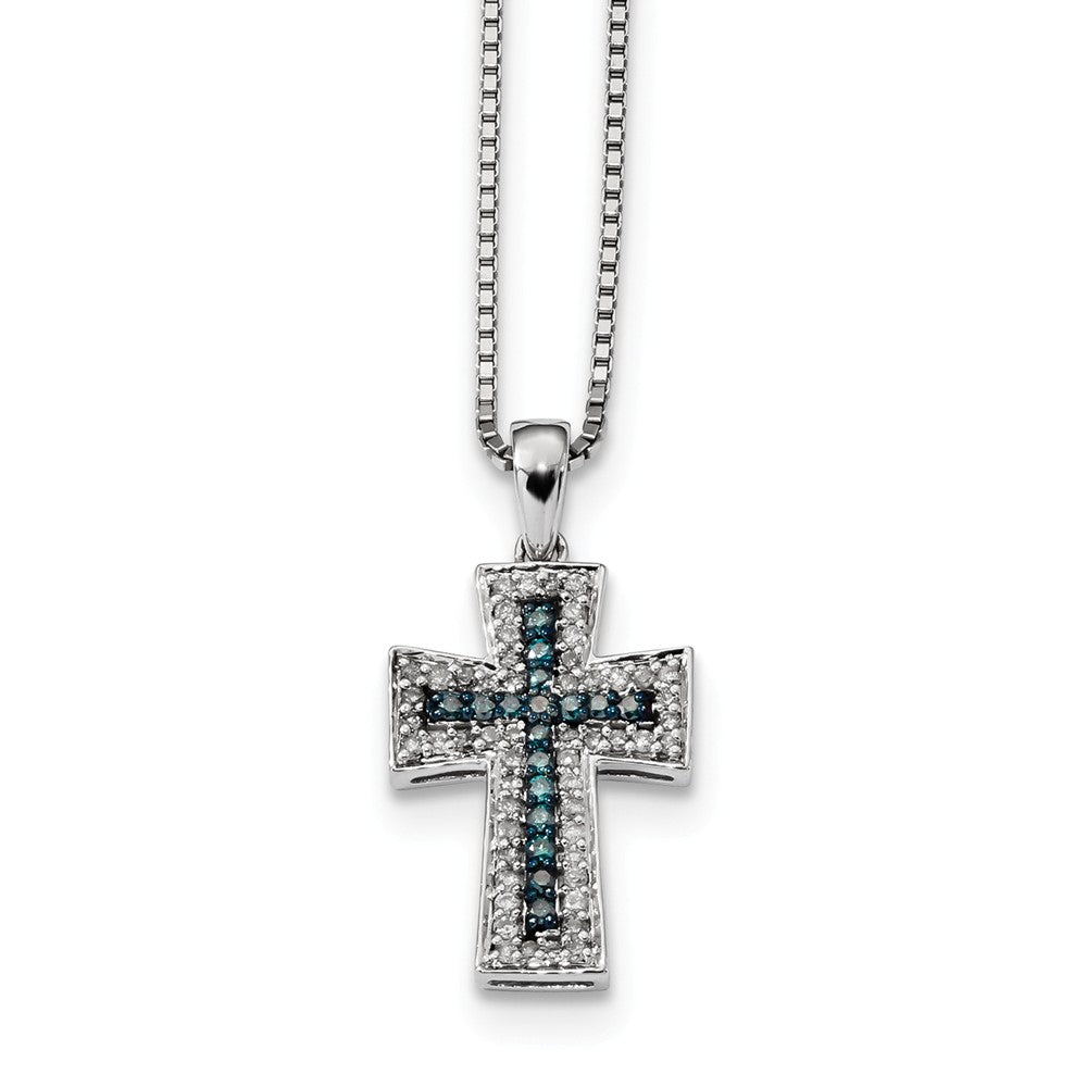 3/8 Ctw Blue & White Diamond Cross Necklace in Sterling Silver, Item N10739 by The Black Bow Jewelry Co.