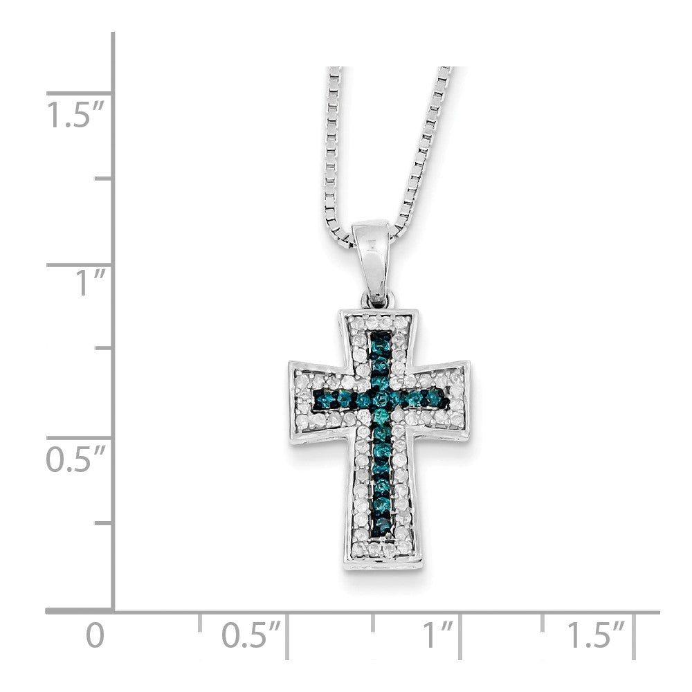 Alternate view of the 3/8 Ctw Blue & White Diamond Cross Necklace in Sterling Silver by The Black Bow Jewelry Co.