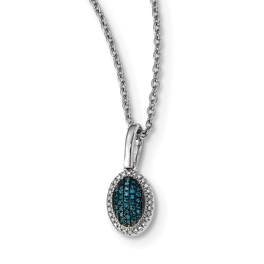 1/20 Ctw Blue & White Diamond Small Oval Necklace in Sterling Silver, Item N10754 by The Black Bow Jewelry Co.