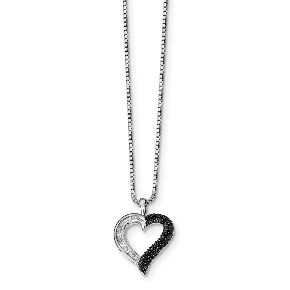 1/4 Cttw Black & White Diamond 16mm Heart Necklace in Sterling Silver, Item N10777 by The Black Bow Jewelry Co.