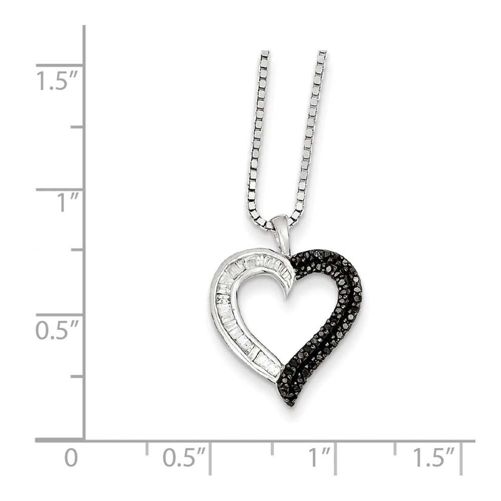 Alternate view of the 1/4 Cttw Black & White Diamond 16mm Heart Necklace in Sterling Silver by The Black Bow Jewelry Co.