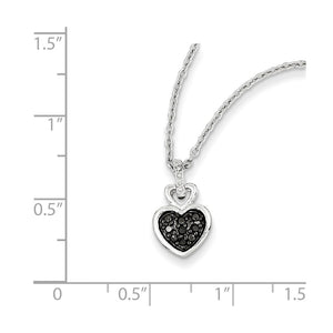 Alternate view of the 1/20 Ctw Black & White Diamond Small Heart Necklace in Sterling Silver by The Black Bow Jewelry Co.